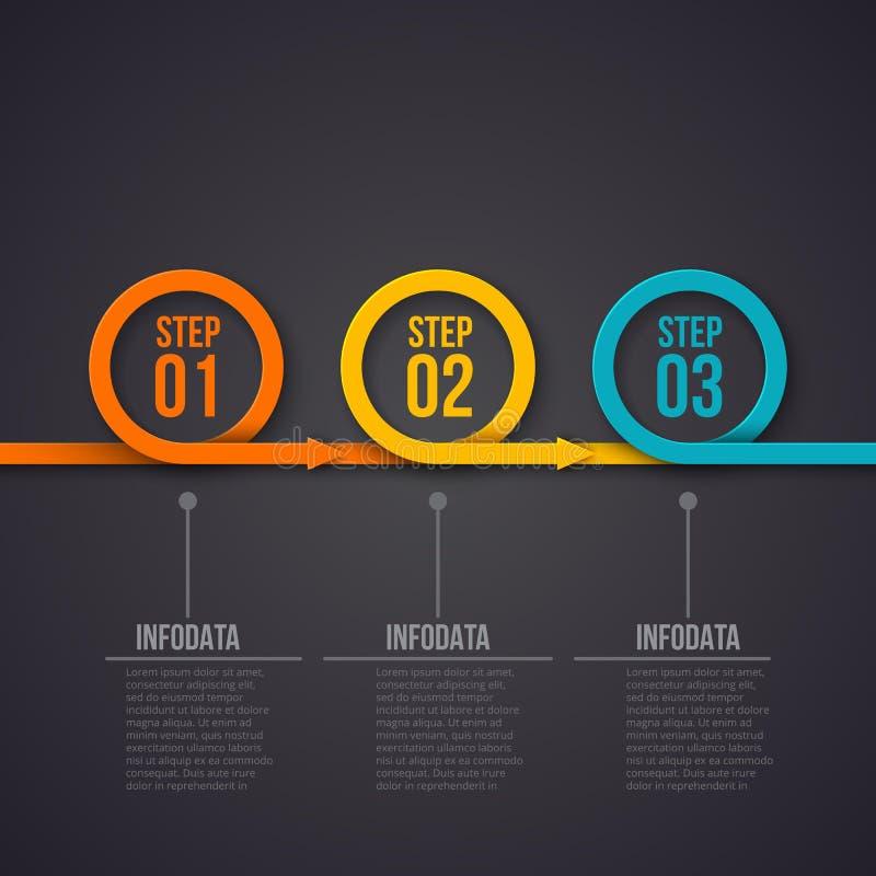Vektorcirklar med pilar på en mörk bakgrund Kan användas för presentationen, diagram, årsrapporten, rengöringsdukdesign vektor illustrationer