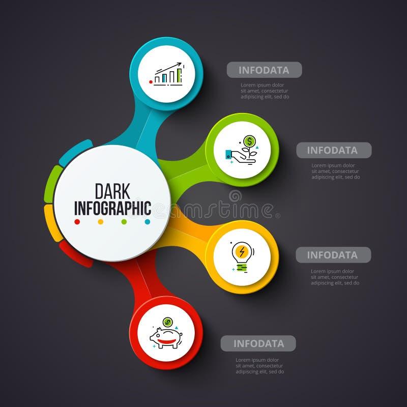 Vektorcirklar på en mörk bakgrund Kan användas för presentationen, diagram, årsrapporten, rengöringsdukdesign Affär vektor illustrationer