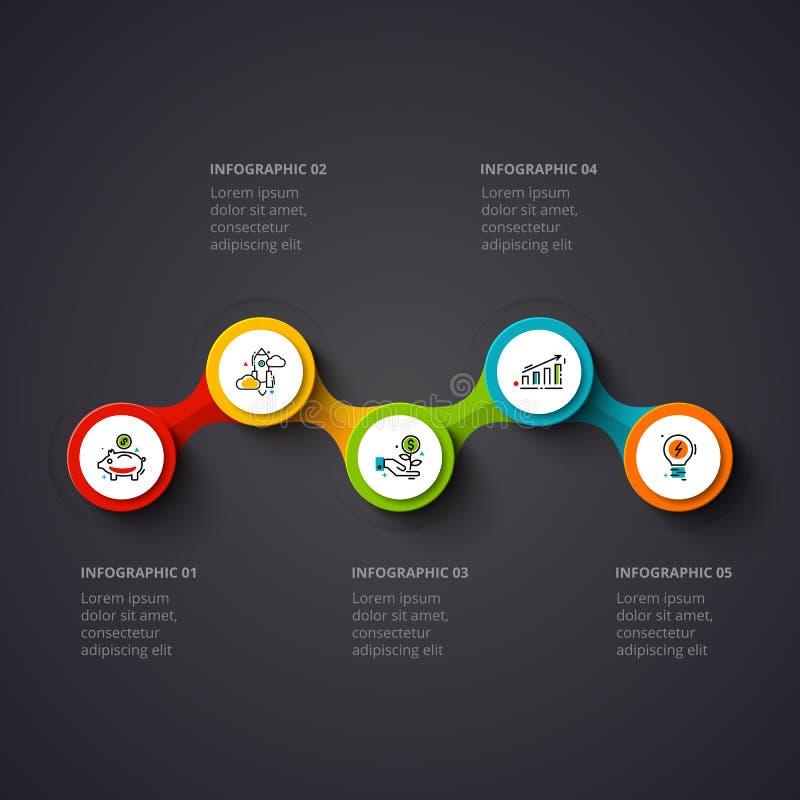 Vektorcirklar som är infographic på en mörk bakgrund Kan användas för presentationen, diagram, årsrapporten, rengöringsdukdesign royaltyfri illustrationer