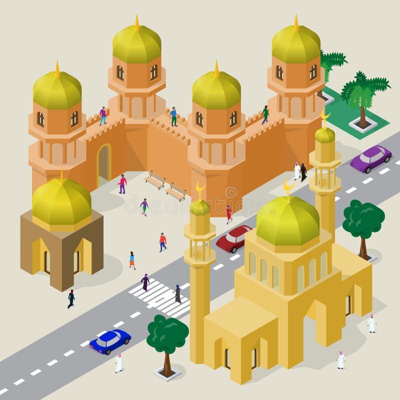 Vektorcityscape i arabisk stil Ställ in av isometriska byggnader, moskén, minaret, fästningväggen med torn, körbanan, bänkar, vektor illustrationer