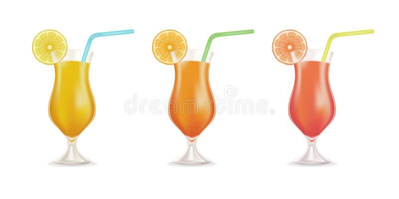 Vektorcoctailuppsättningen garnerade med den nya apelsinen, citronen och kulöra sugrörrör som isolerades på vit bakgrund f?r illu stock illustrationer
