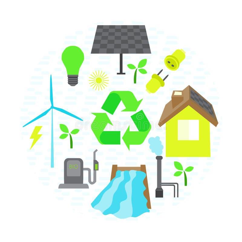 Vektorcollageuppsättningen av enkel eco gällde symboler Innehåller symboler för olika typer av elektricitetsutvecklingar stock illustrationer