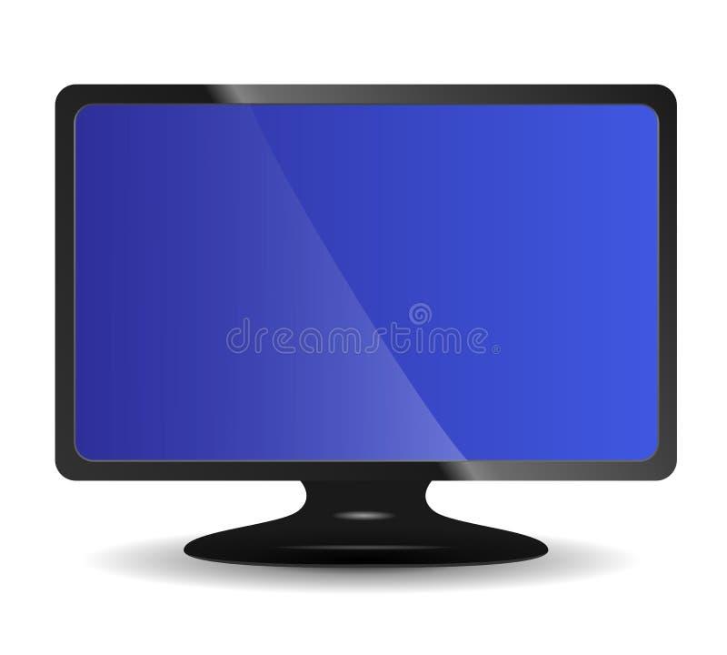 Vektorcomputermonitor auf Weiß lizenzfreie abbildung