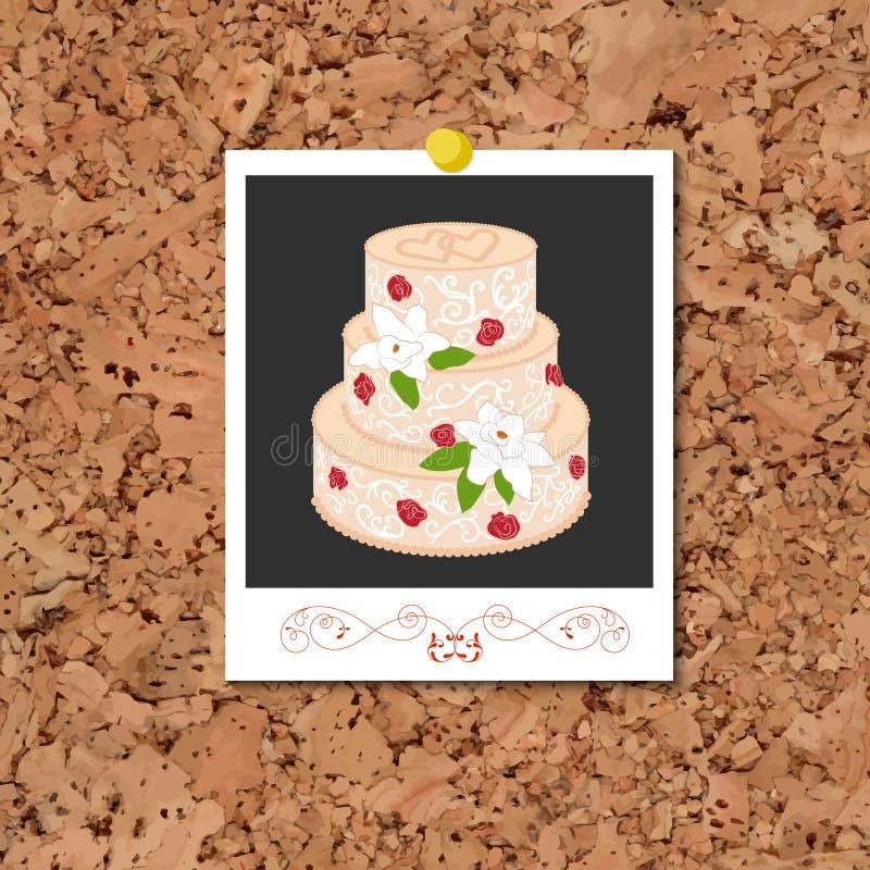 Vektorcorkboard med det ögonblickliga fotokortet och bröllopstårtan stock illustrationer