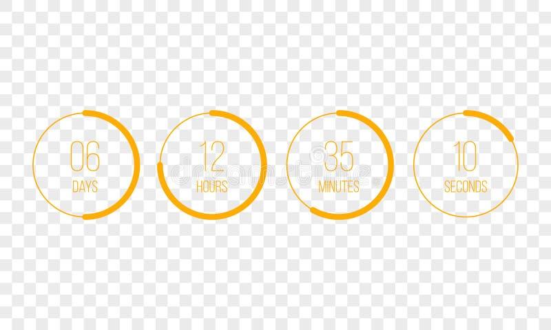 Vektorcountdown-Taktzählertimer Digitale Zählung UI kreisen unten Brettmeter mit Kreiszeit-Kreisdiagramm ein lizenzfreie abbildung