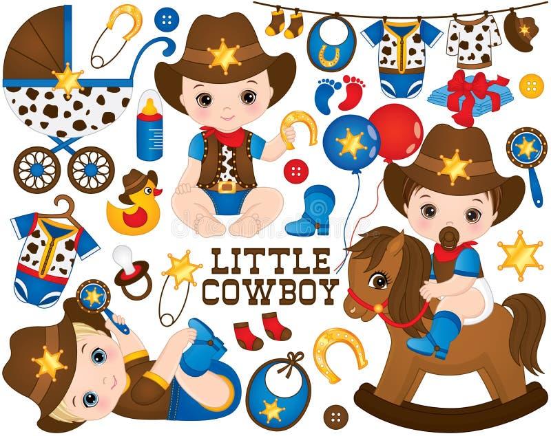 Vektorcowboy Set Uppsättningen inkluderar gulligt litet behandla som ett barn pojkar som kläs som små cowboyer royaltyfri illustrationer