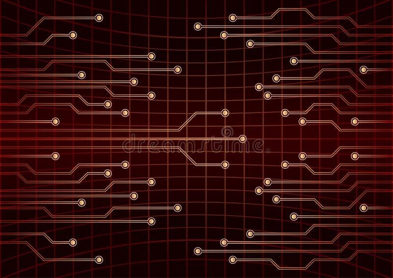 VektorCPU-datateknik, elektroniskt begrepp Rött gå runt stiger ombord Vektorillustration för EPS 10 vektor illustrationer