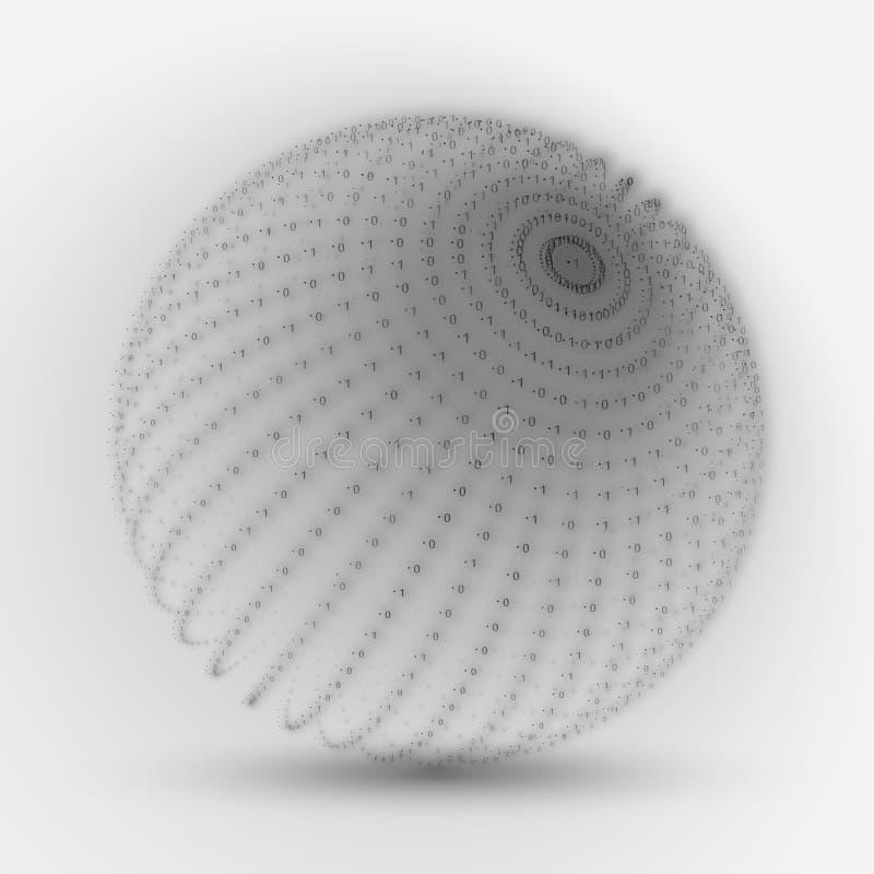 Vektorcybersfär Stränger den stora datasfären för gråtonen med binära nummer Framställning för informationskodstruktur royaltyfri illustrationer