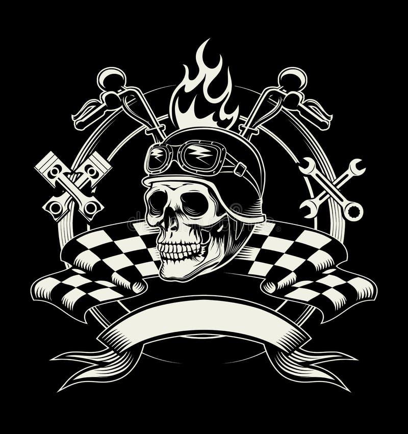 Vektorcyklistemblem med skallen eller den döda motorcykeln royaltyfri illustrationer