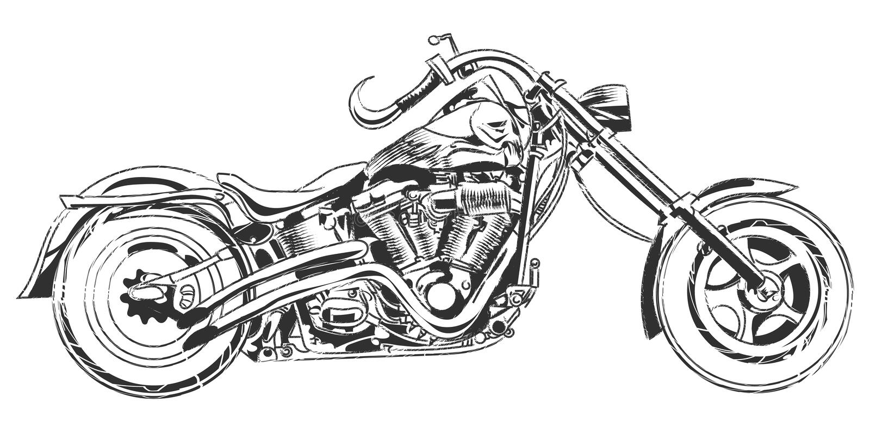Vektorcyklister Motorcykel för handteckningsvektor med cykelbeståndsdelar royaltyfri illustrationer