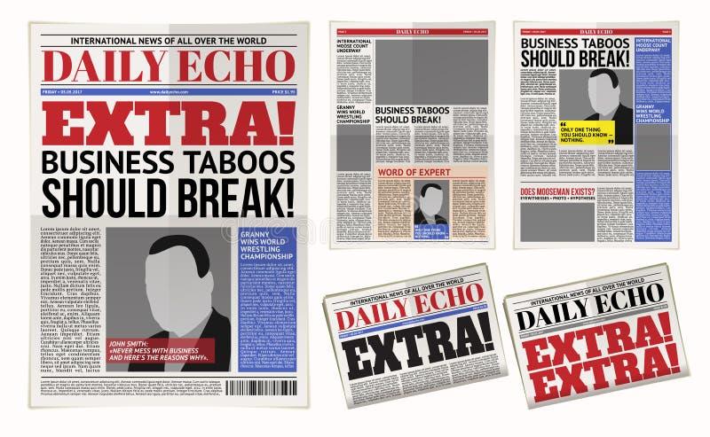 Vektordagstidningmall, tabloidtidning, orienteringsutnämningreportage royaltyfri illustrationer