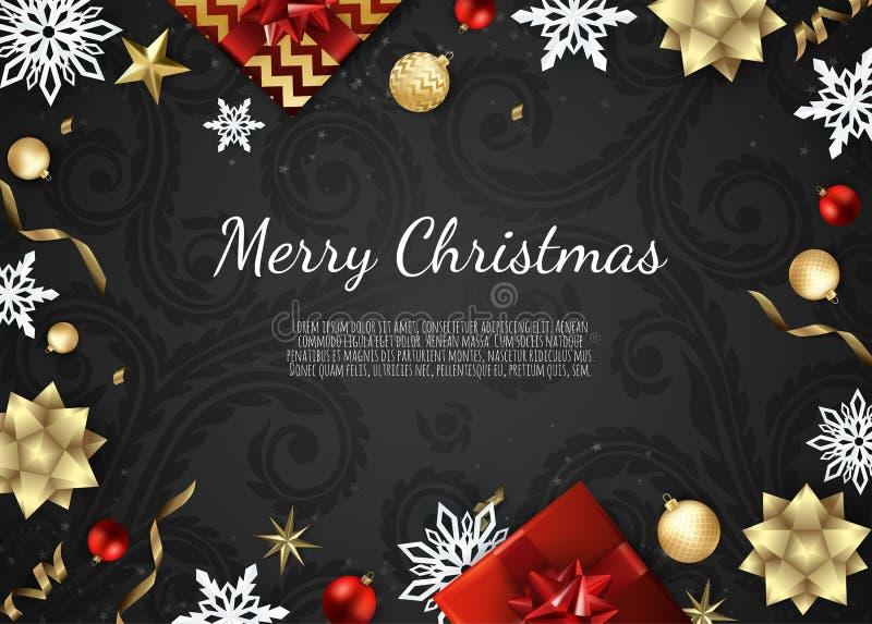 Vektordatei ENV-8 eingeschlossen Kreative Designgrußkarte, Fahne, Plakat Draufsichtgeschenkbox, Weihnachtsbälle, Sterne und stock abbildung