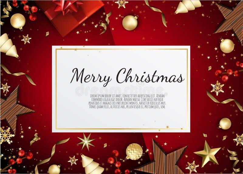 Vektordatei ENV-8 eingeschlossen Kreative Designgrußkarte, Fahne, Plakat Draufsichtgeschenkbox, Weihnachtsbälle, Sterne und lizenzfreie abbildung