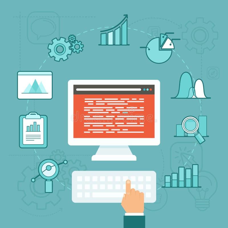 Vektordaten-Analytikkonzept in der flachen Art stock abbildung