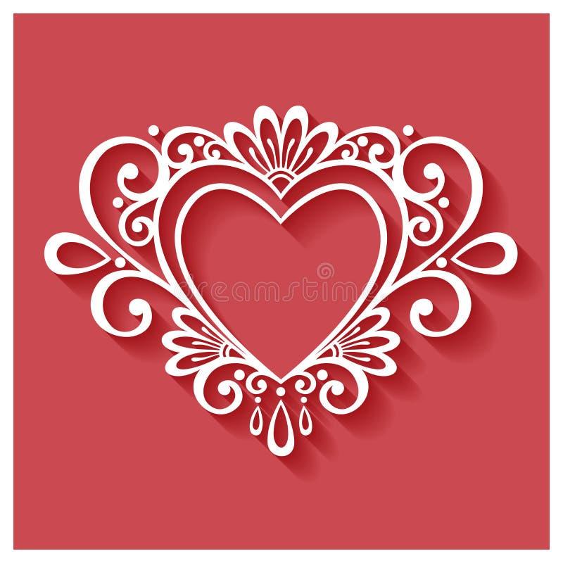 VektorDeco blom- hjärta på röd bakgrund vektor illustrationer