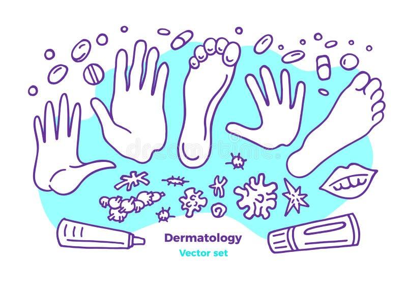 Vektordermatologiuppsättning Hudsjukdomar Problem analys, behandling vektor illustrationer