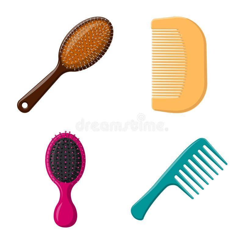 Vektordesign av borste- och hårtecknet Samling av borste- och hårborstevektorsymbolen för materiel vektor illustrationer
