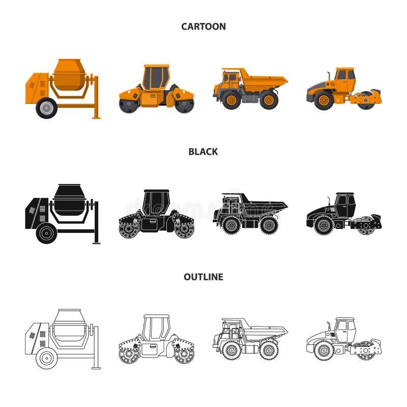 Vektordesign av byggande- och konstruktionssymbolen Uppsättning av byggande och maskinerivektorsymbol för materiel royaltyfri illustrationer