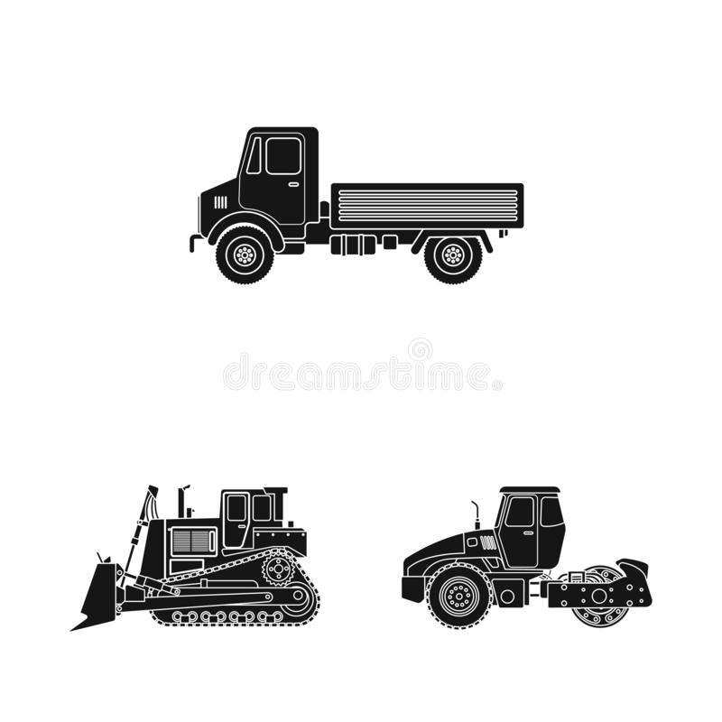 Vektordesign av byggande- och konstruktionstecknet Samling av byggande och illustrationen för maskinerimaterielvektor stock illustrationer