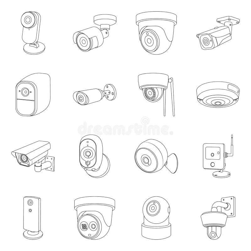 Vektordesign av cctv- och kamerasymbolet Uppsättning av cctv och systemvektorsymbol för materiel stock illustrationer