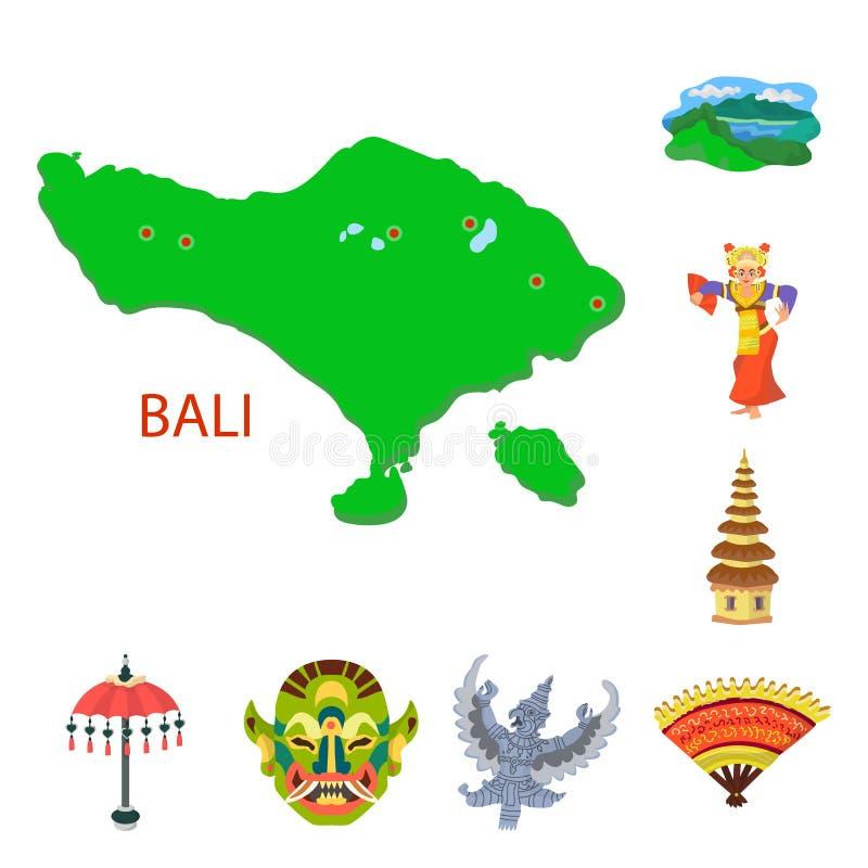 Vektordesign av den bali och indonesia logoen Samlingen av bali och karibiskt lagerf?r symbolet f?r reng?ringsduk stock illustrationer