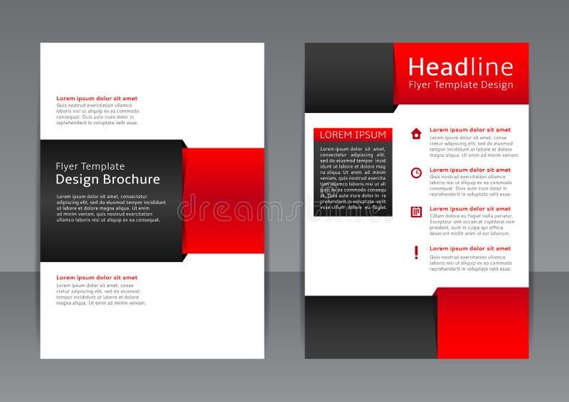 Vektordesign av den röda och svarta reklambladet, räkning, broschyr, affisch, rapport royaltyfri illustrationer