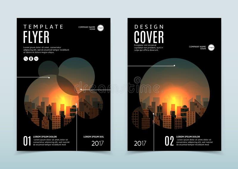 Vektordesign av den svarta reklambladmallen stock illustrationer