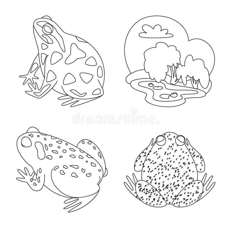 Vektordesign av det amfibiska och djura symbolet St?ll in av amfibie- och naturvektorsymbolen f?r materiel stock illustrationer