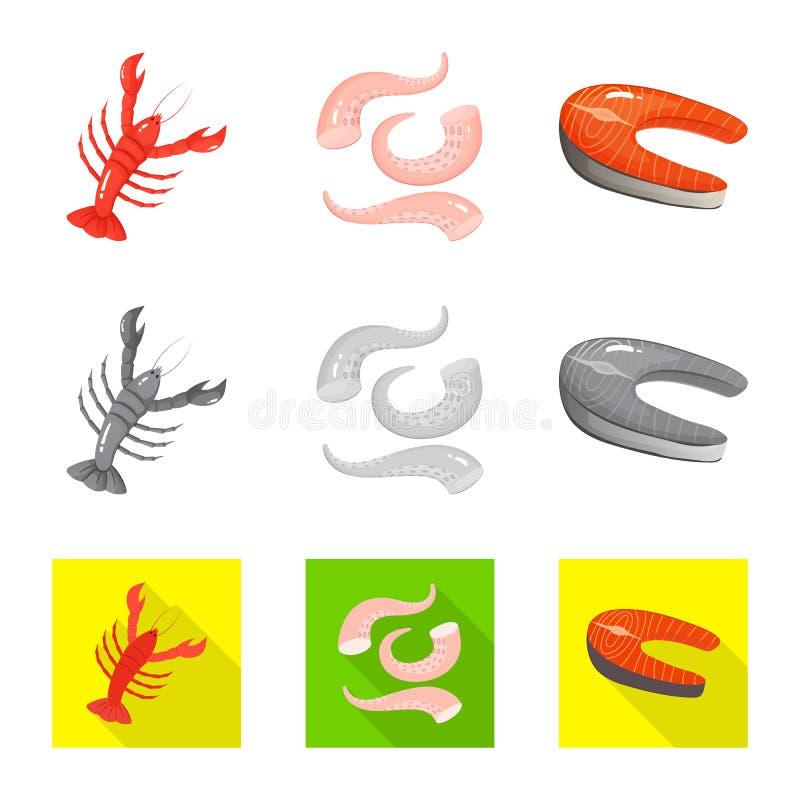 Vektordesign av det ny och restaurangsymbolet St?ll in av ny och marin- materielvektorillustration vektor illustrationer