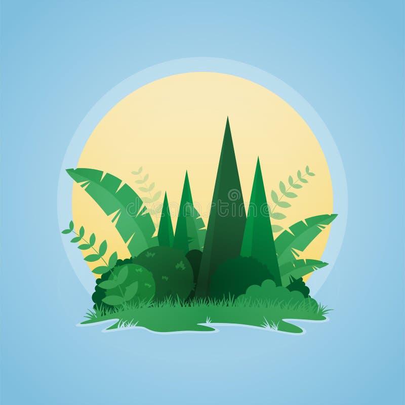 Vektordesign av det tropiska lilla ösolnedgånglandskapet vektor illustrationer