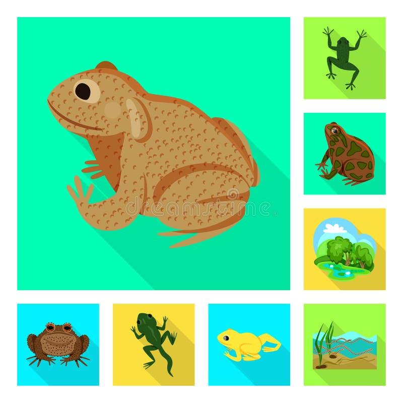 Vektordesign av djurliv- och myrsymbolen St?ll in av illustration f?r djurliv- och reptilmaterielvektor stock illustrationer