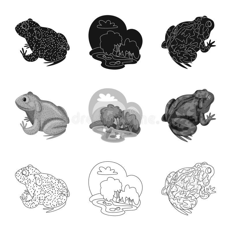 Vektordesign av djurliv- och myrsymbolet Samling av djurliv- och reptilvektorsymbolen f?r materiel royaltyfri illustrationer