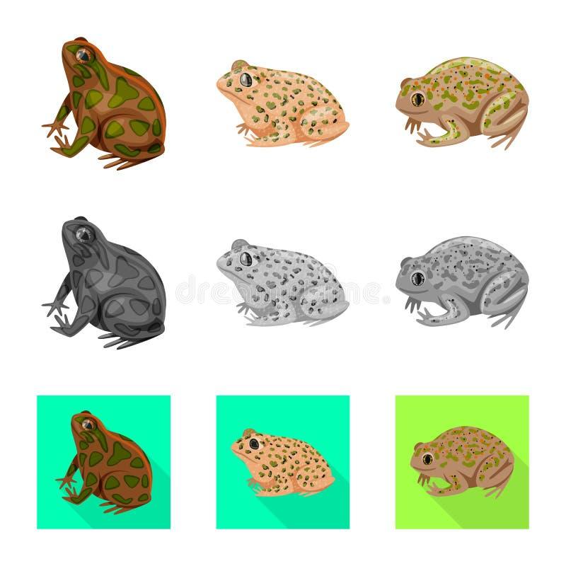 Vektordesign av djurliv- och myrtecknet Samling av illustrationen f?r djurliv- och reptilmaterielvektor vektor illustrationer