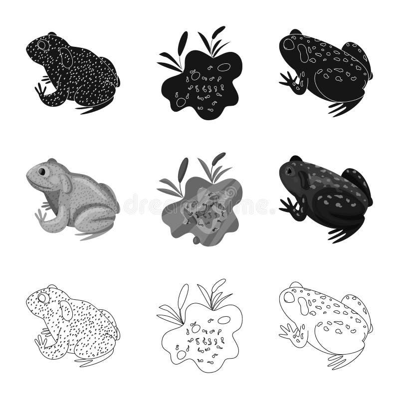 Vektordesign av djurliv- och myrtecknet St?ll in av illustration f?r djurliv- och reptilmaterielvektor stock illustrationer