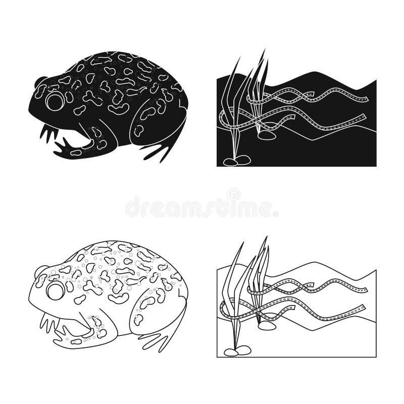 Vektordesign av djurliv- och myrtecknet St?ll in av djurliv- och reptilvektorsymbolen f?r materiel royaltyfri illustrationer