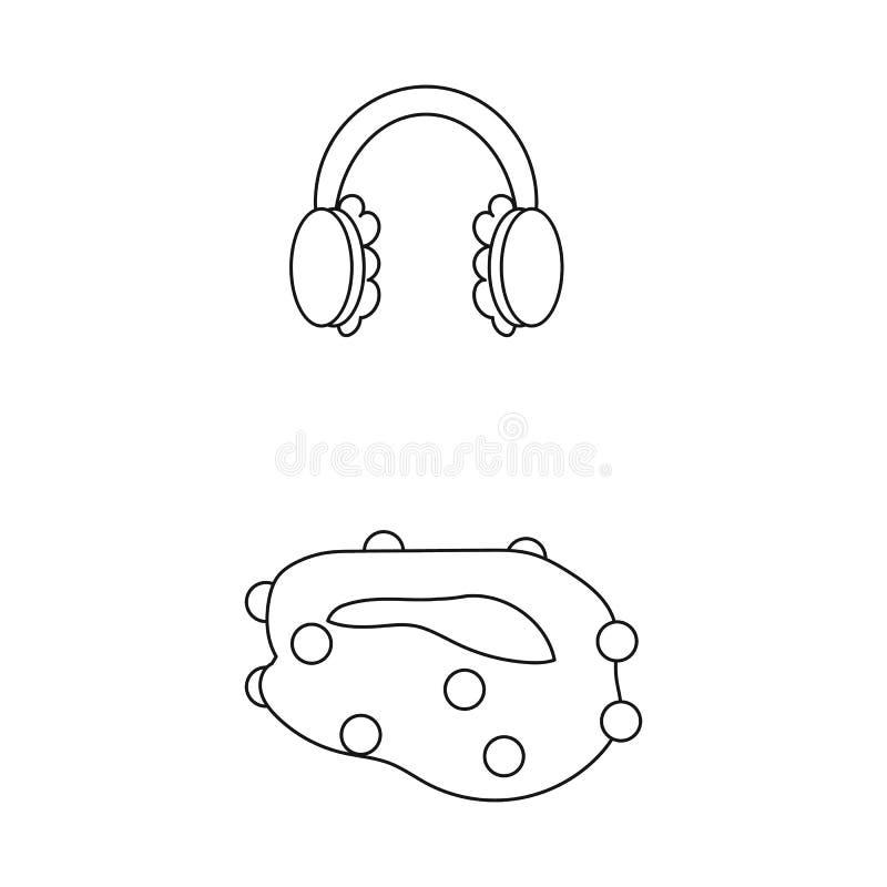 Vektordesign av earmuff- och halsduklogoen Ställ in av earmuff och den blåa vektorsymbolen för materiel royaltyfri illustrationer