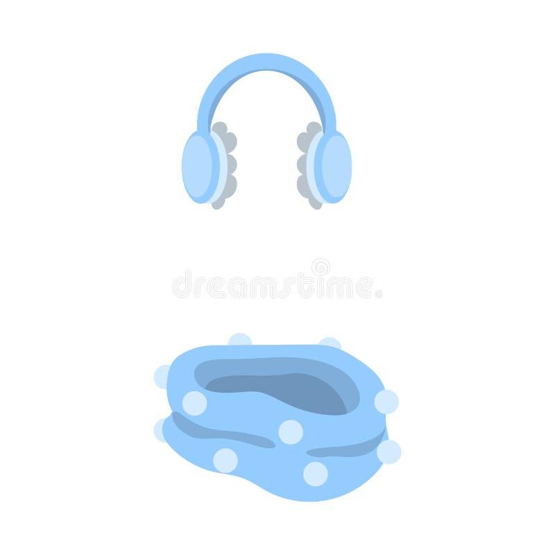 Vektordesign av earmuff- och halsduksymbolen Samlingen av earmuffen och blått lagerför symbolet för rengöringsduk stock illustrationer