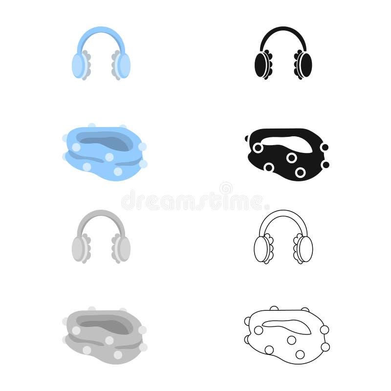 Vektordesign av earmuff- och halsduktecknet Samling av earmuffen och blå vektorsymbol för materiel stock illustrationer