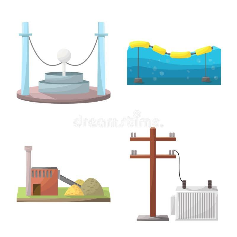 Vektordesign av energi och den alternativa symbolen Ställ in av energi- och för utvecklingsmaterielvektor illustration stock illustrationer