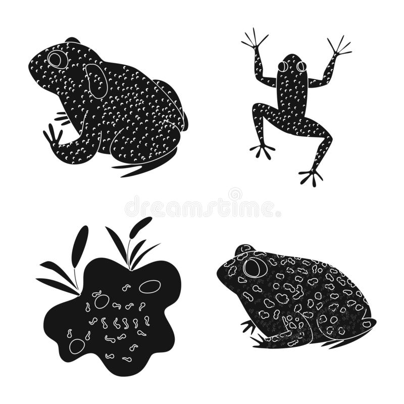 Vektordesign av fauna- och reptiltecknet Samling av faunor och den anuran materielvektorillustrationen vektor illustrationer