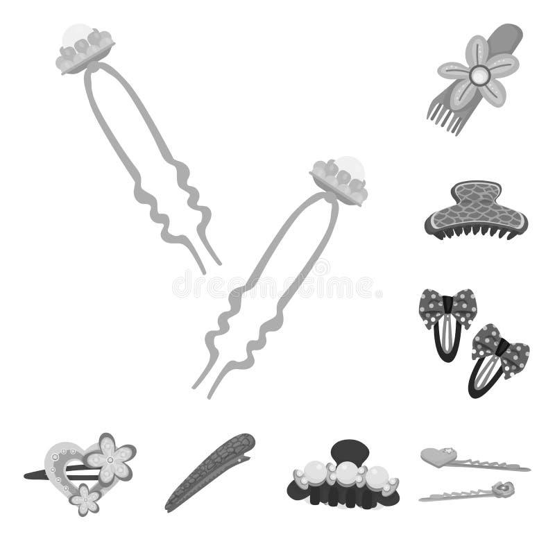 Vektordesign av frisering- och hairclipsymbolen Samling av illustrationen f?r frisering- och modematerielvektor royaltyfri illustrationer
