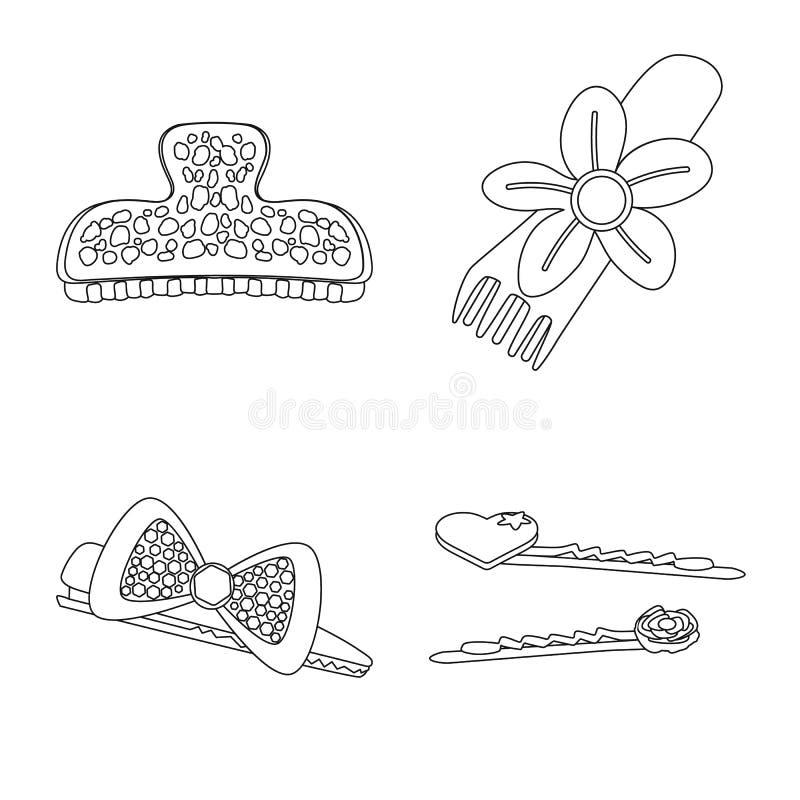 Vektordesign av frisering- och hairclipsymbolen St?ll in av frisering och tillbeh?rmaterielsymbolet f?r reng?ringsduk vektor illustrationer