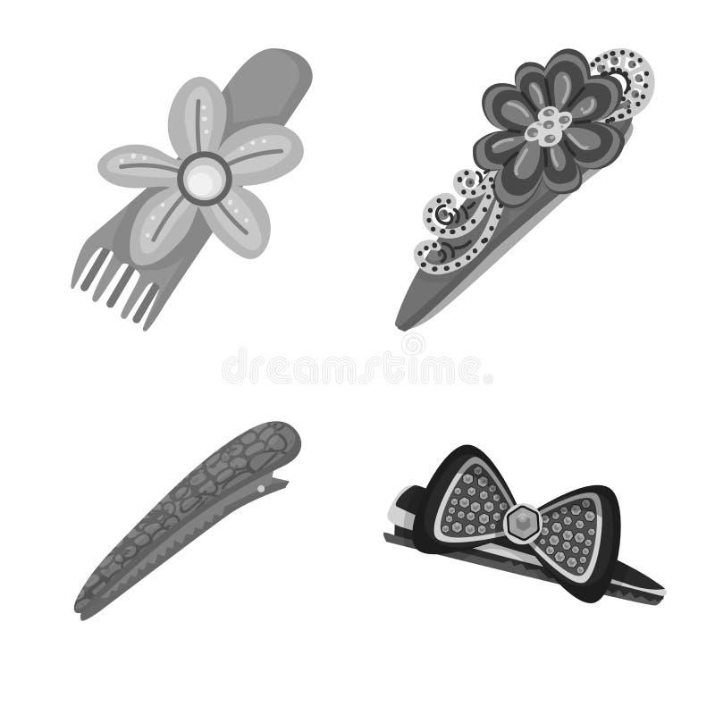 Vektordesign av frisering- och hairclipsymbolet Samling av frisering- och modematerielsymbolet f?r reng?ringsduk vektor illustrationer