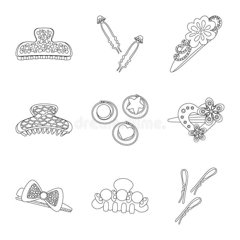 Vektordesign av frisering- och hairclipsymbolet Samling av frisering och tillbeh?rvektorsymbol f?r materiel royaltyfri illustrationer