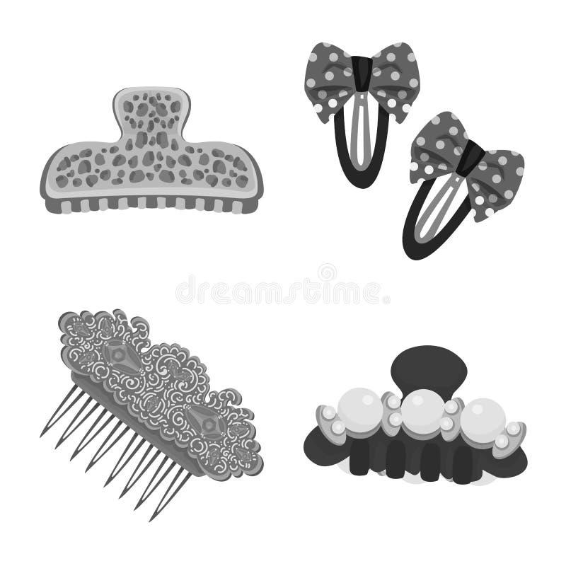 Vektordesign av frisering- och haircliptecknet Samling av illustrationen f?r frisering- och modematerielvektor stock illustrationer