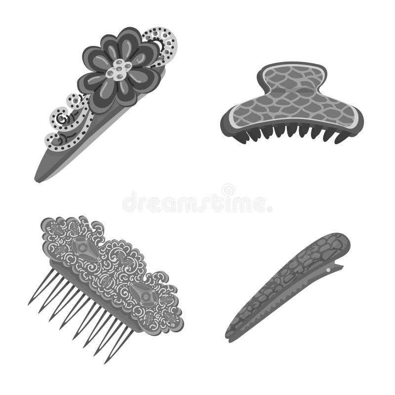 Vektordesign av frisering- och haircliptecknet Samling av frisering- och modematerielsymbolet f?r reng?ringsduk stock illustrationer