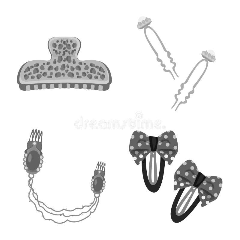 Vektordesign av frisering- och haircliptecknet St?ll in av frisering- och modevektorsymbolen f?r materiel stock illustrationer