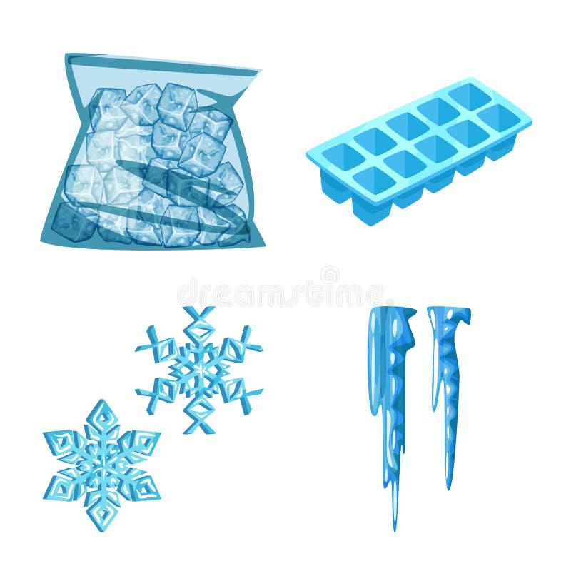 Vektordesign av frost- och vattenlogoen r stock illustrationer