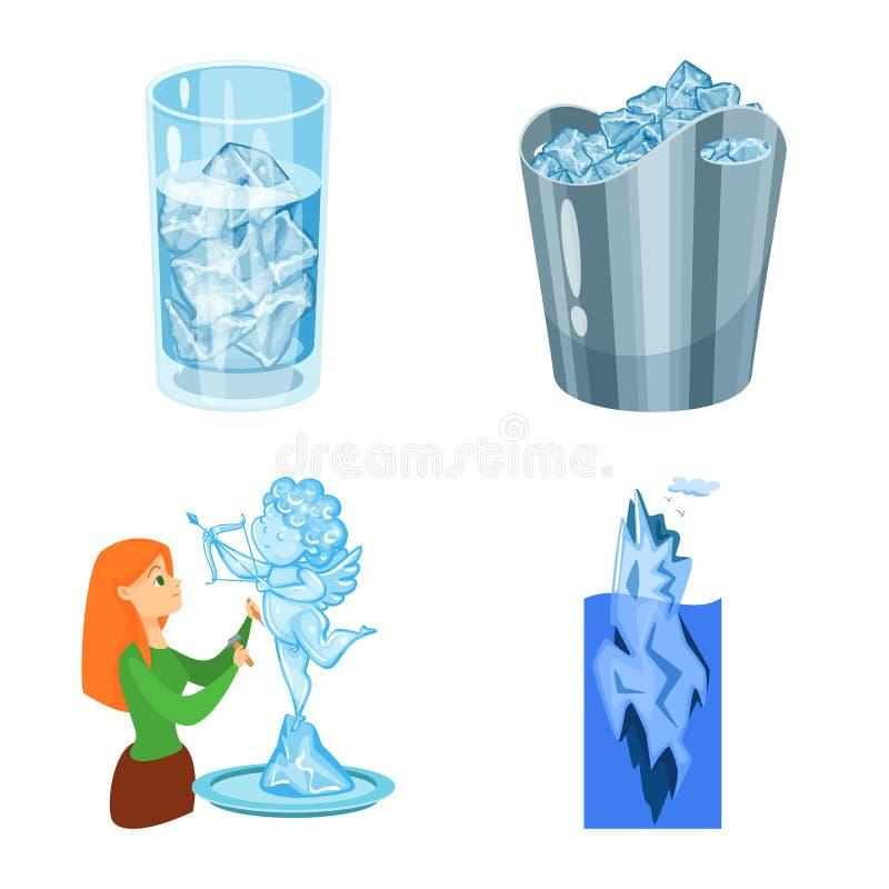 Vektordesign av frost- och vattenlogoen Samling av frost och v?t vektorsymbol f?r materiel vektor illustrationer