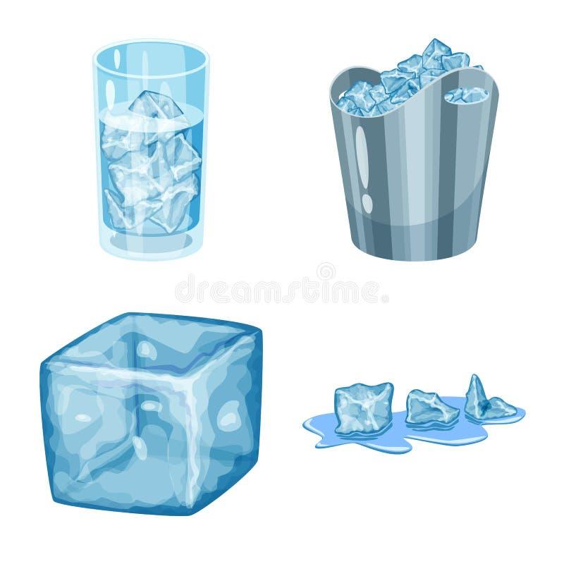 Vektordesign av frost- och vattenlogoen St?ll in av frost och det v?ta materielsymbolet f?r reng?ringsduk royaltyfri illustrationer